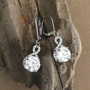 Sterling Silver CZ Infinity Earrings